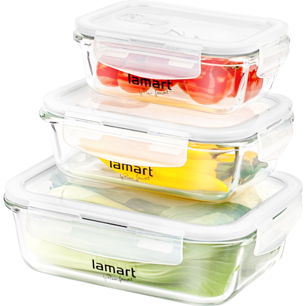 Lamart LT6011 sada obdelníkových dóz na potraviny Air, 3 ks