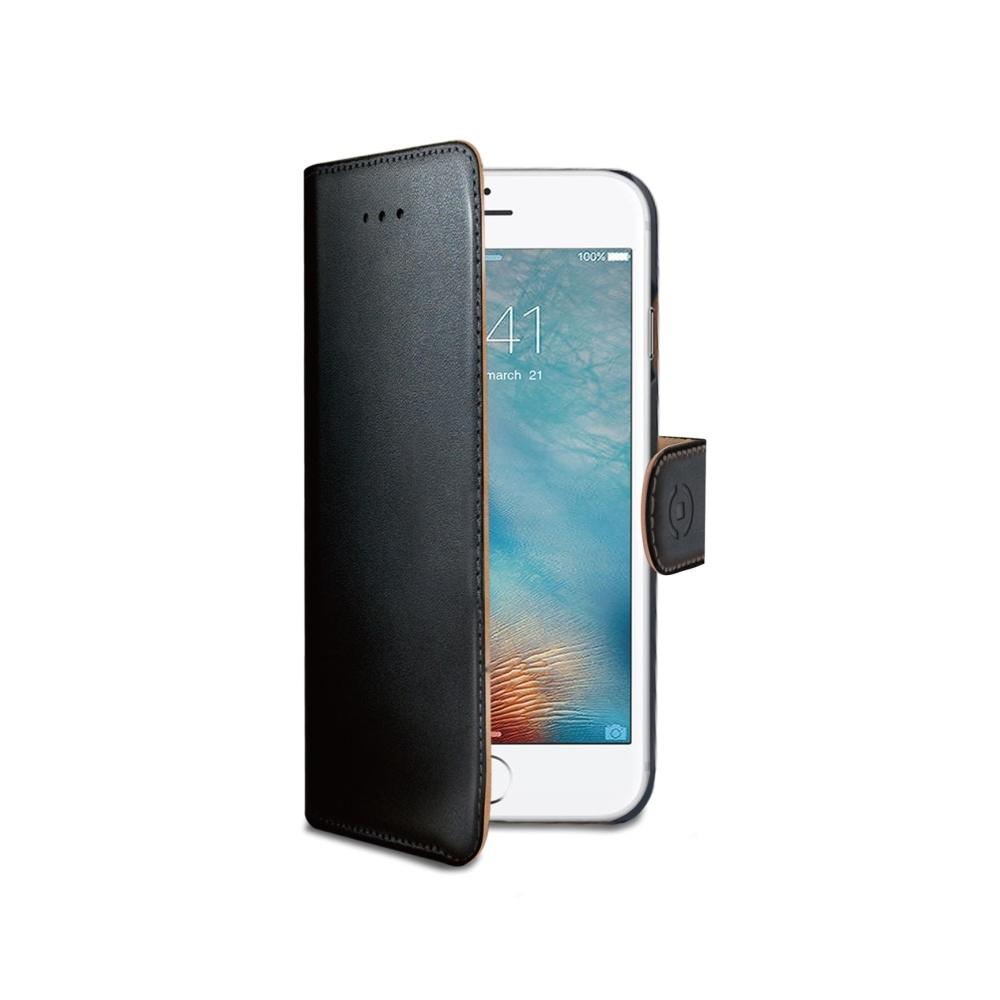 Pouzdro typu kniha Celly Wally pro Apple iPhone 7 - černé WALLY800