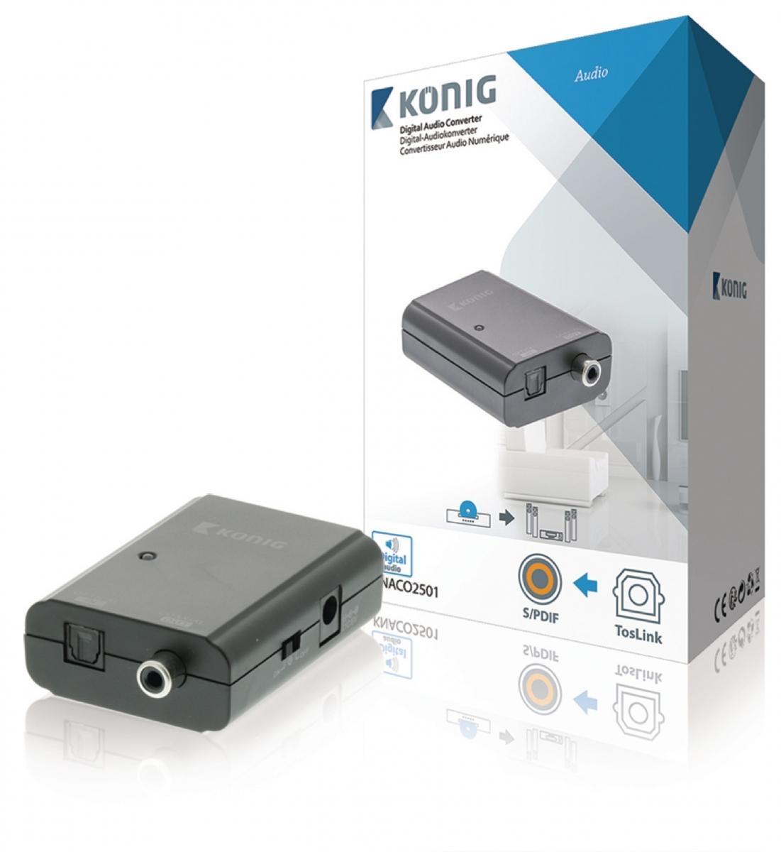 Digitální audio převodník, TosLink zásuvka – S/PDIF zásuvka, tmavě šedá (KNACO2501)