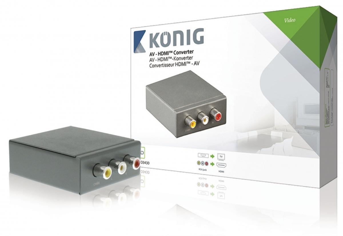 AV – HDMI převodník, RCA vstup - HDMI výstup, tmavě šedý (KNVCO3430)