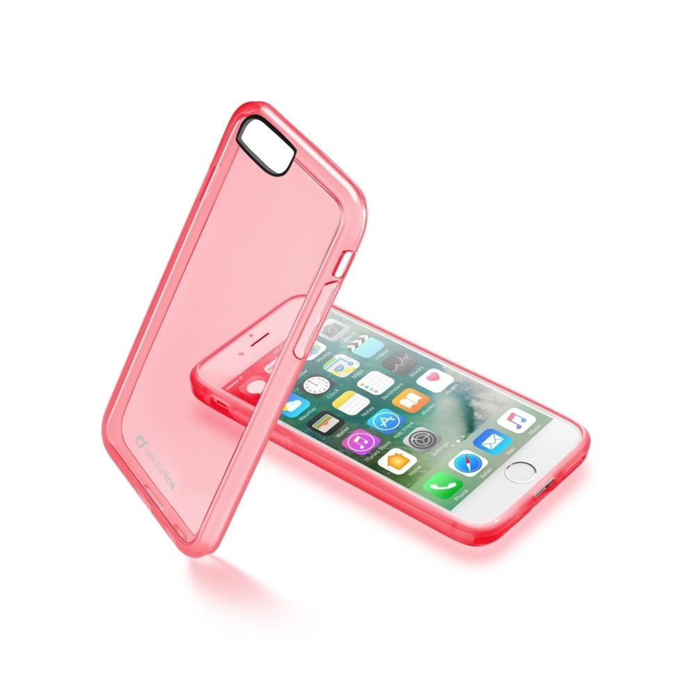 Průhledný obal CellularLine Color pro Apple iPhone 7 - růžový CLEARCOLIPH747P