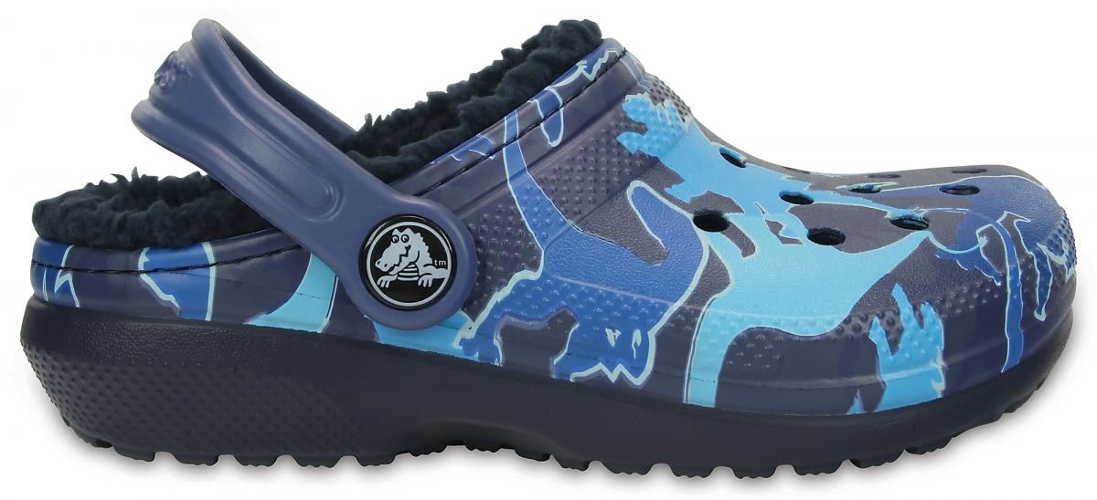 Crocs Classic Lined Graphic Clog Kids - Blue Camo, C11 (28-29)
