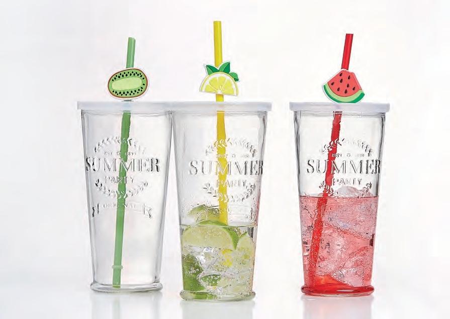 Ritzenhoff & Breker sada sklenic se slámkou Cool Summer, 720 ml, 3 ks