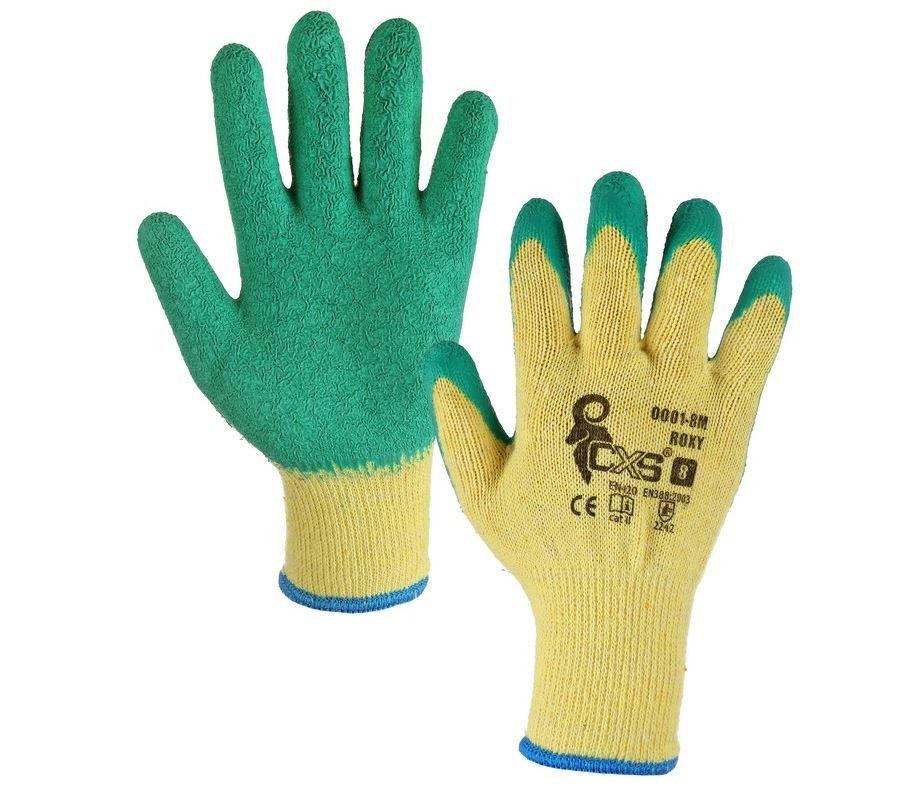 Povrstvené rukavice ROXY vel.10, žluto-zelené