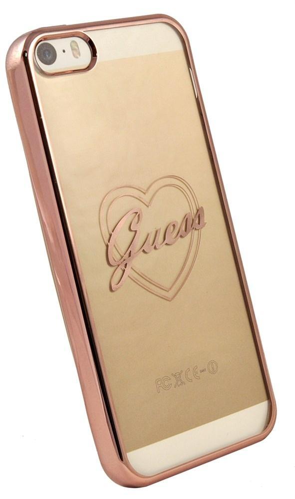 Zadní kryt Guess Signature Heart GUHCPSETRHRG pro iPhone 5/5S/SE - růžovo-zlatý
