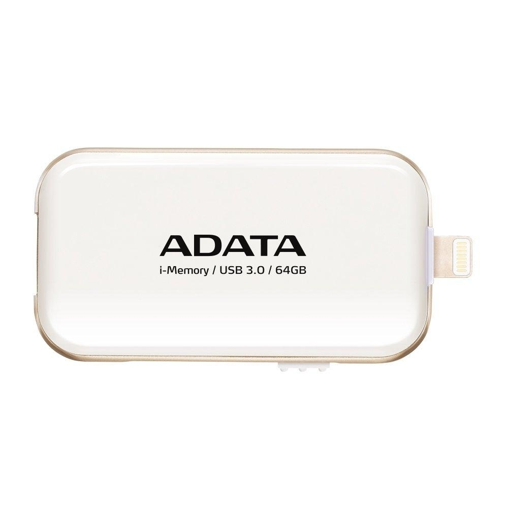 USB flash disk ADATA UE710 s konektorem Lightning pro Apple, 64GB - bílý AUE710-64G-CWH