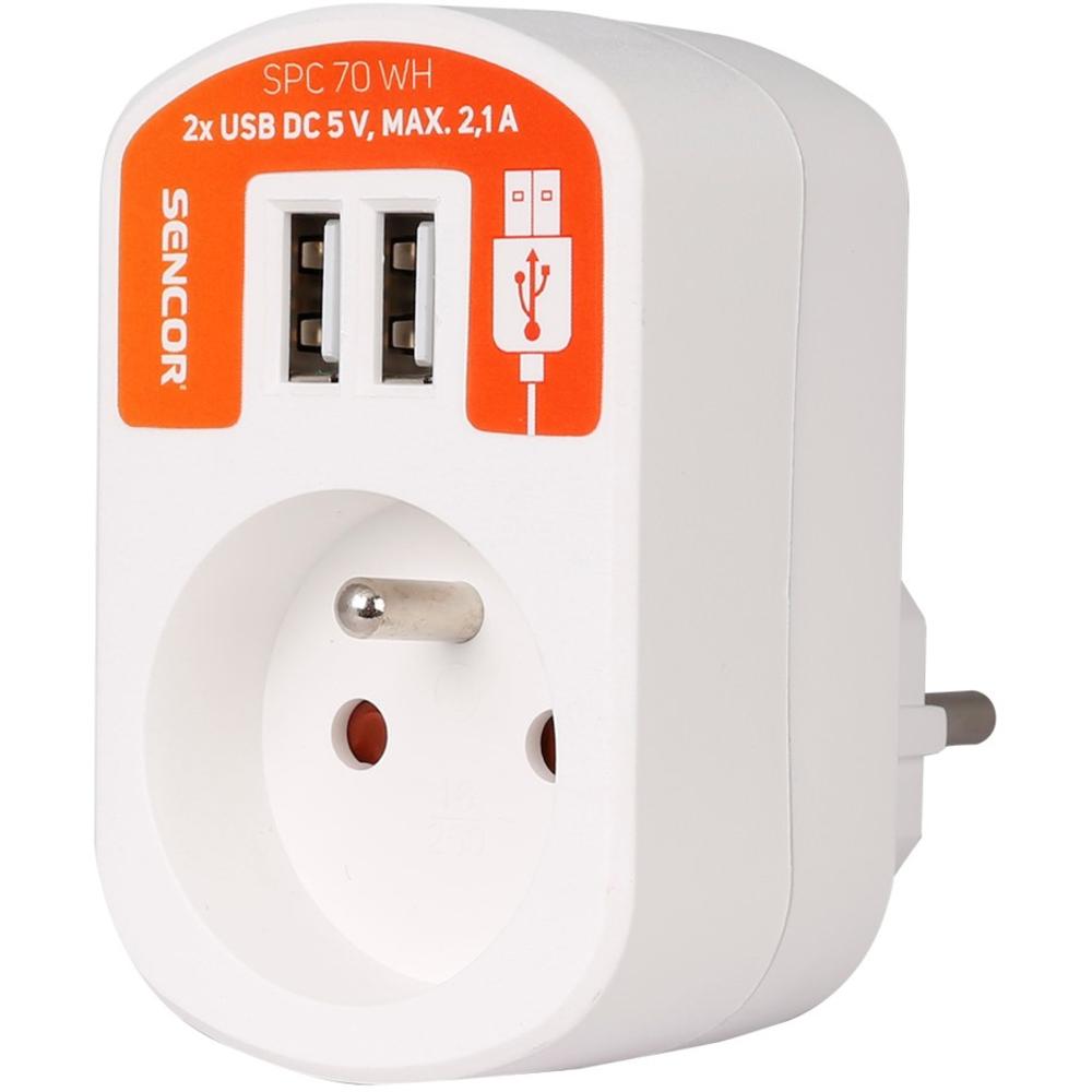 Zásuvka s USB porty Sencor SPC 70 WH, 2.1A - Bílá