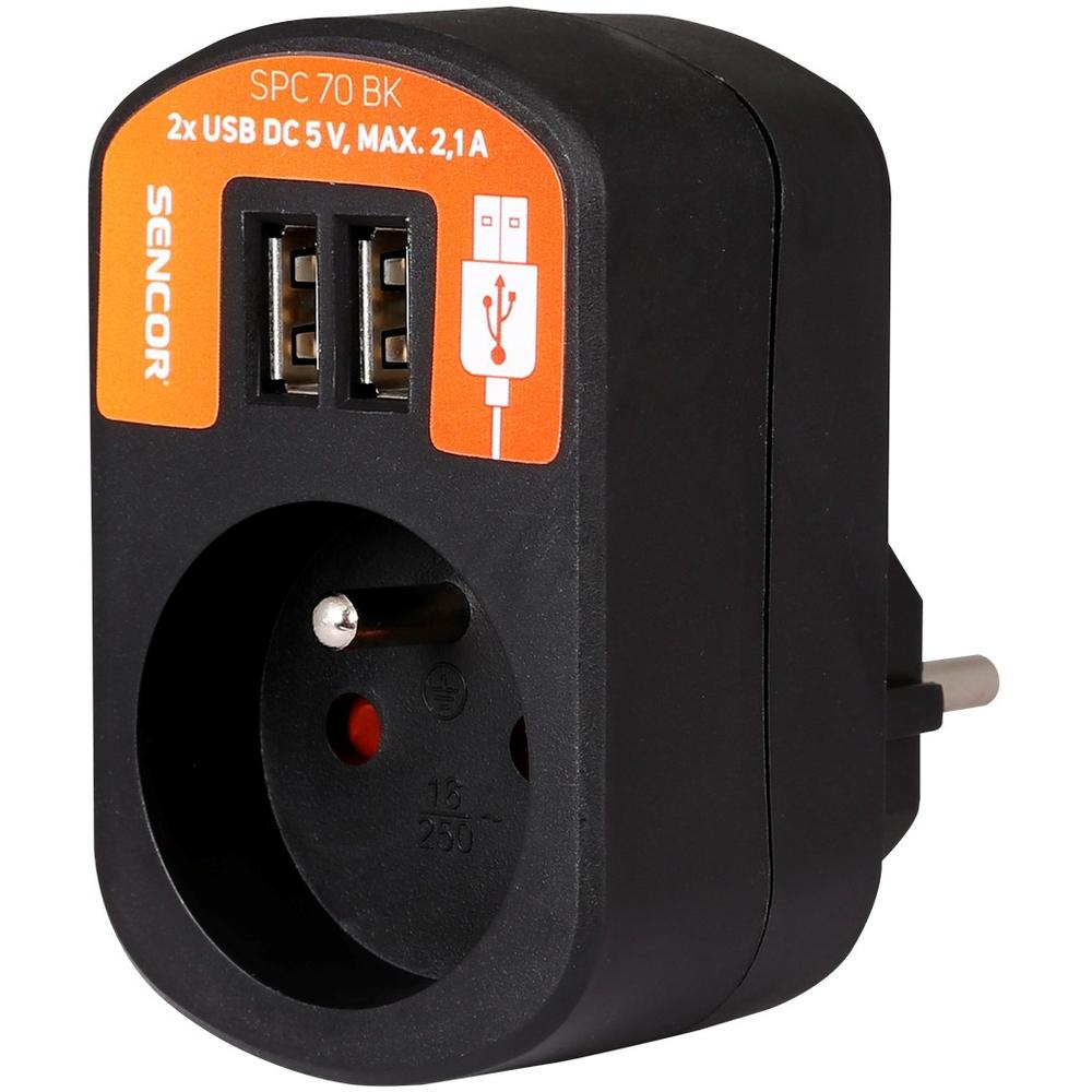 Zásuvka s USB porty Sencor SPC 70 BK, 2.1A - Černá