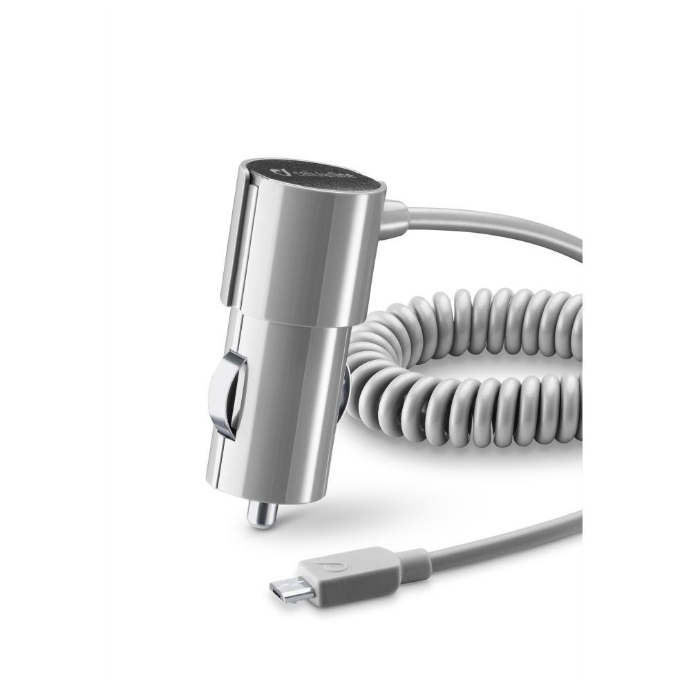 STYLE&COLOR autonabíječka Cellularline s microUSB kabelem, 1A, šedá CBRMUSBSMARTD