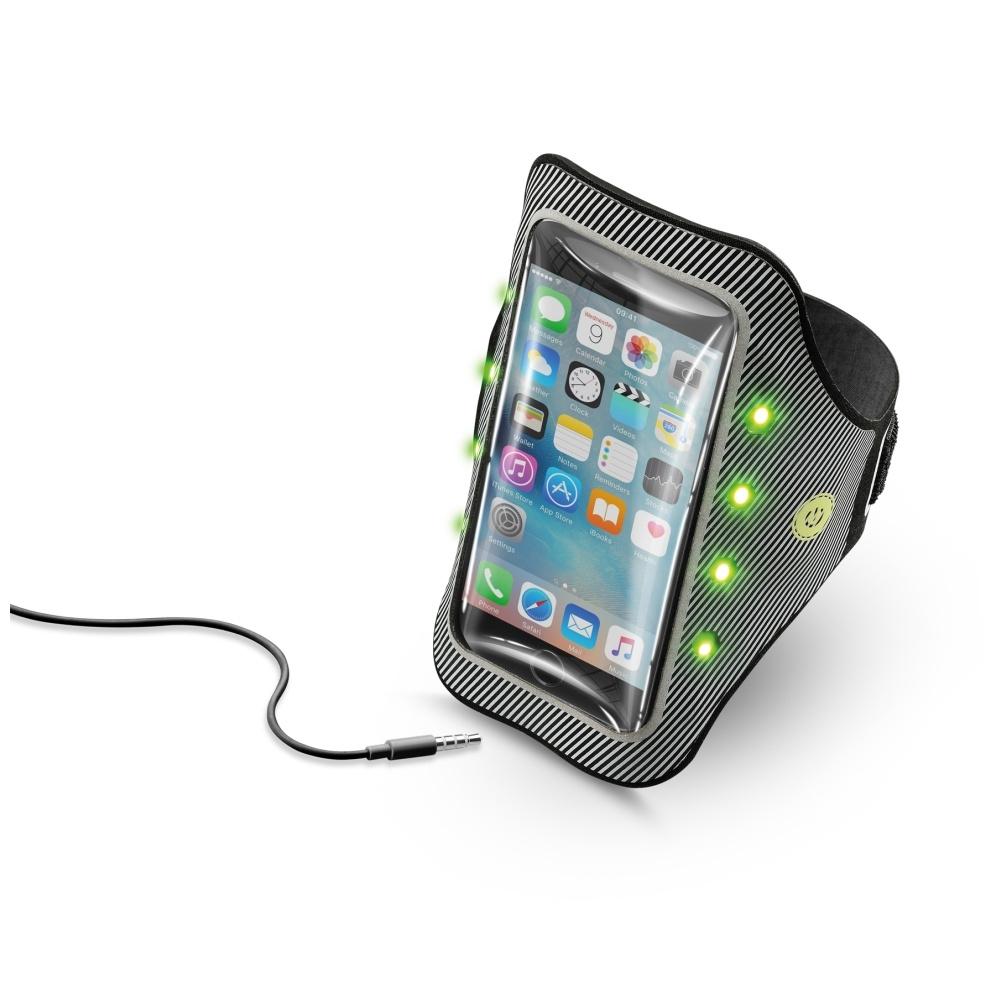 """Sportovní pouzdro s LED osvětlením CellularLine Armband Light s průhledem pro telefony do 5.2"""" ARMBANRLIGHT52K"""