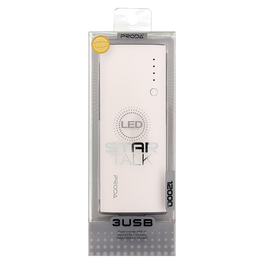 Remax RPP-11 Proda Star Talk PowerBank 12000mAh - bílo-šedá