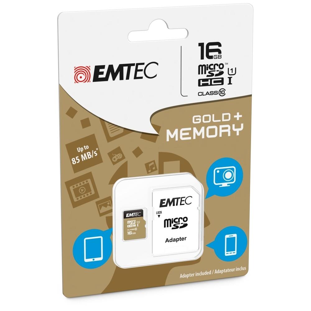 Paměťová karta EMTEC GOLD PLUS microSDHC Class 10, UHS-1, 16GB + adaptér SD ECMSDM16GHC10GP