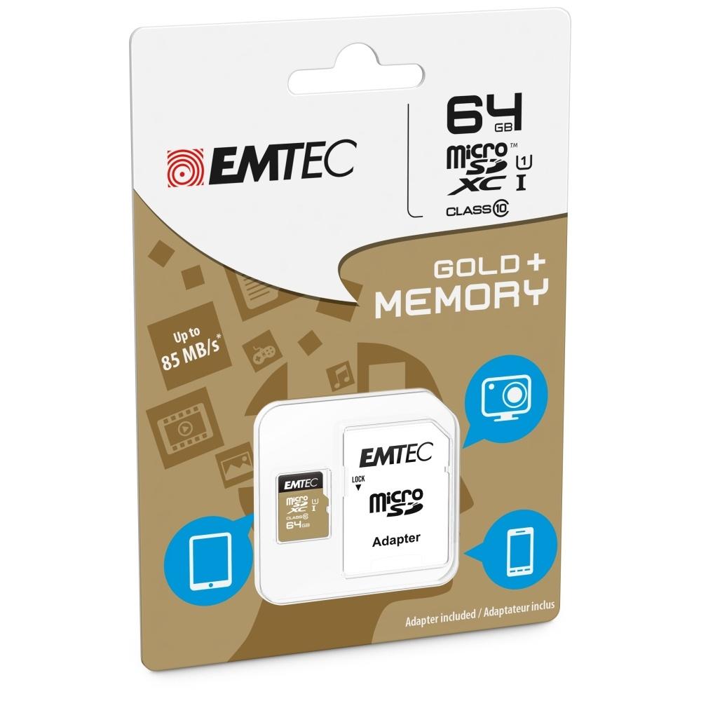 Paměťová karta EMTEC GOLD PLUS microSDXC Class 10, UHS-1, 64GB + adaptér SD ECMSDM64GXC10GP