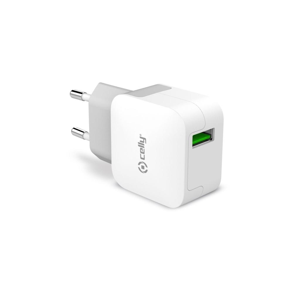 Cestovní nabíječka CELLY TURBO s USB výstupem, 2,4 A, bílá - bílá TCUSBTURBO