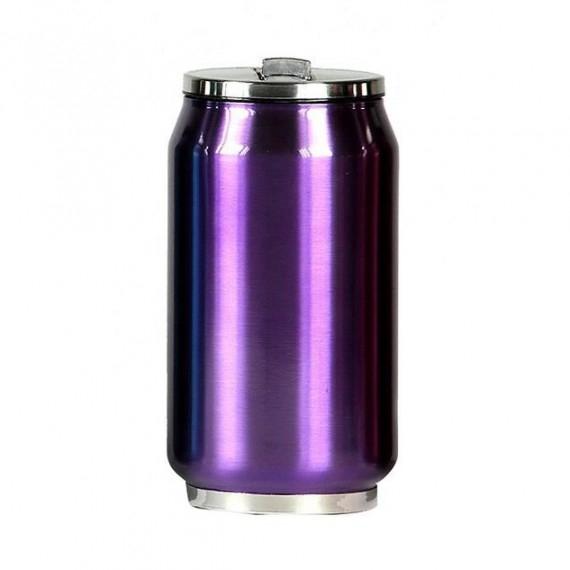 Yoko Design termohrnek ve stylu plechovky, 280 ml, leskle - fialová