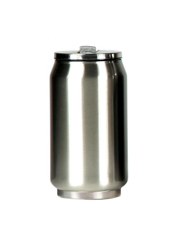 Yoko Design termohrnek ve stylu plechovky, 280 ml, leskle - stříbrná