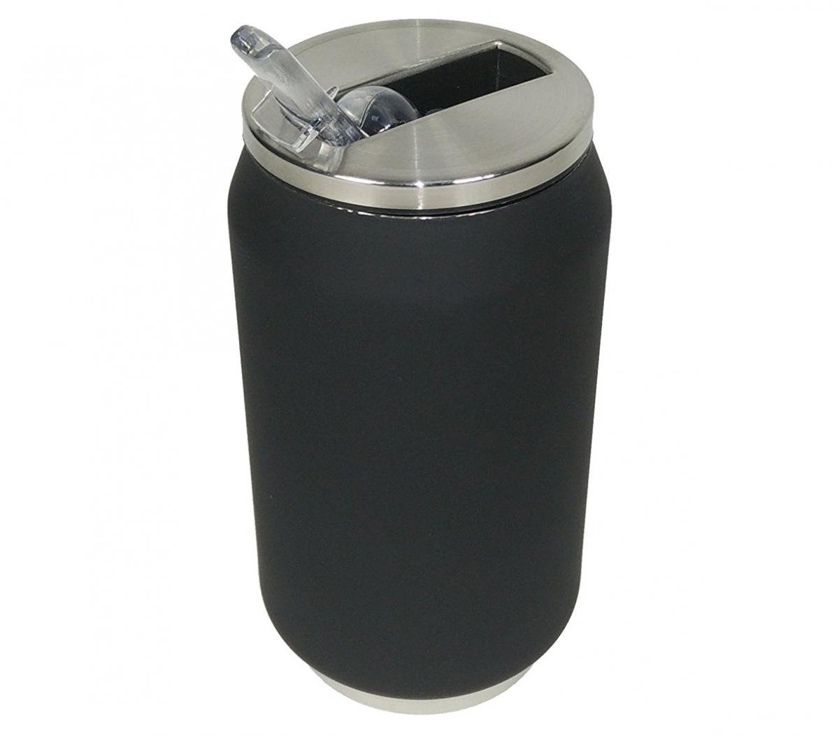Yoko Design termohrnek ve stylu plechovky, 280 ml, matně - černá