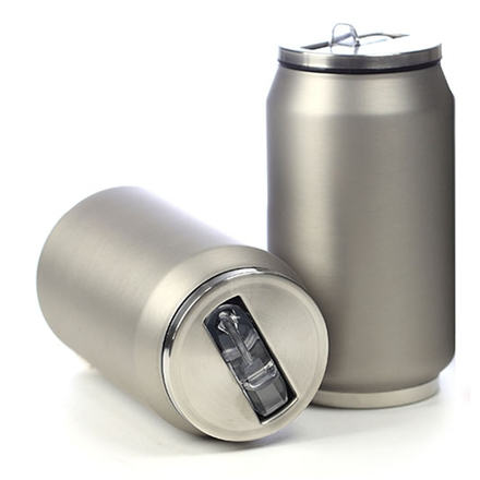 Yoko Design termohrnek ve stylu plechovky, 280 ml, matně - stříbrná