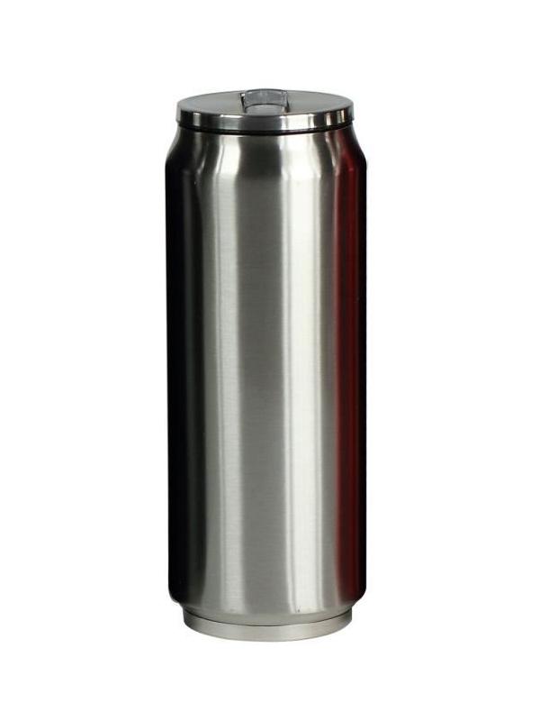 Yoko Design termohrnek ve stylu plechovky, 500 ml, leskle - stříbrná