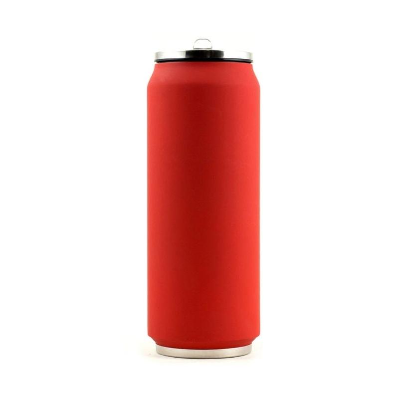 Yoko Design termohrnek ve stylu plechovky, 500 ml, matně - červená