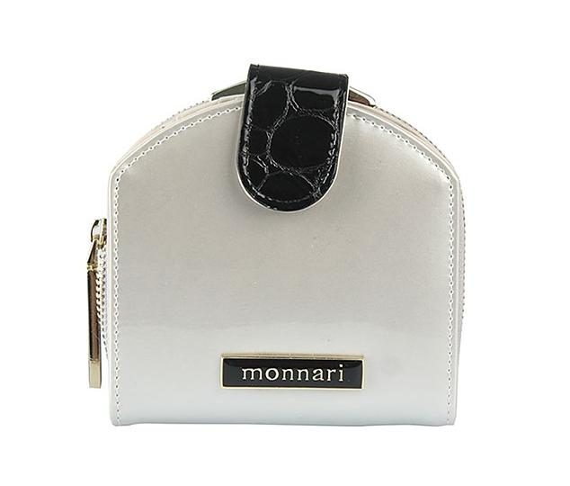 Dámská peněženka z pravé kůže Monnari 0120, stříbrno-černá