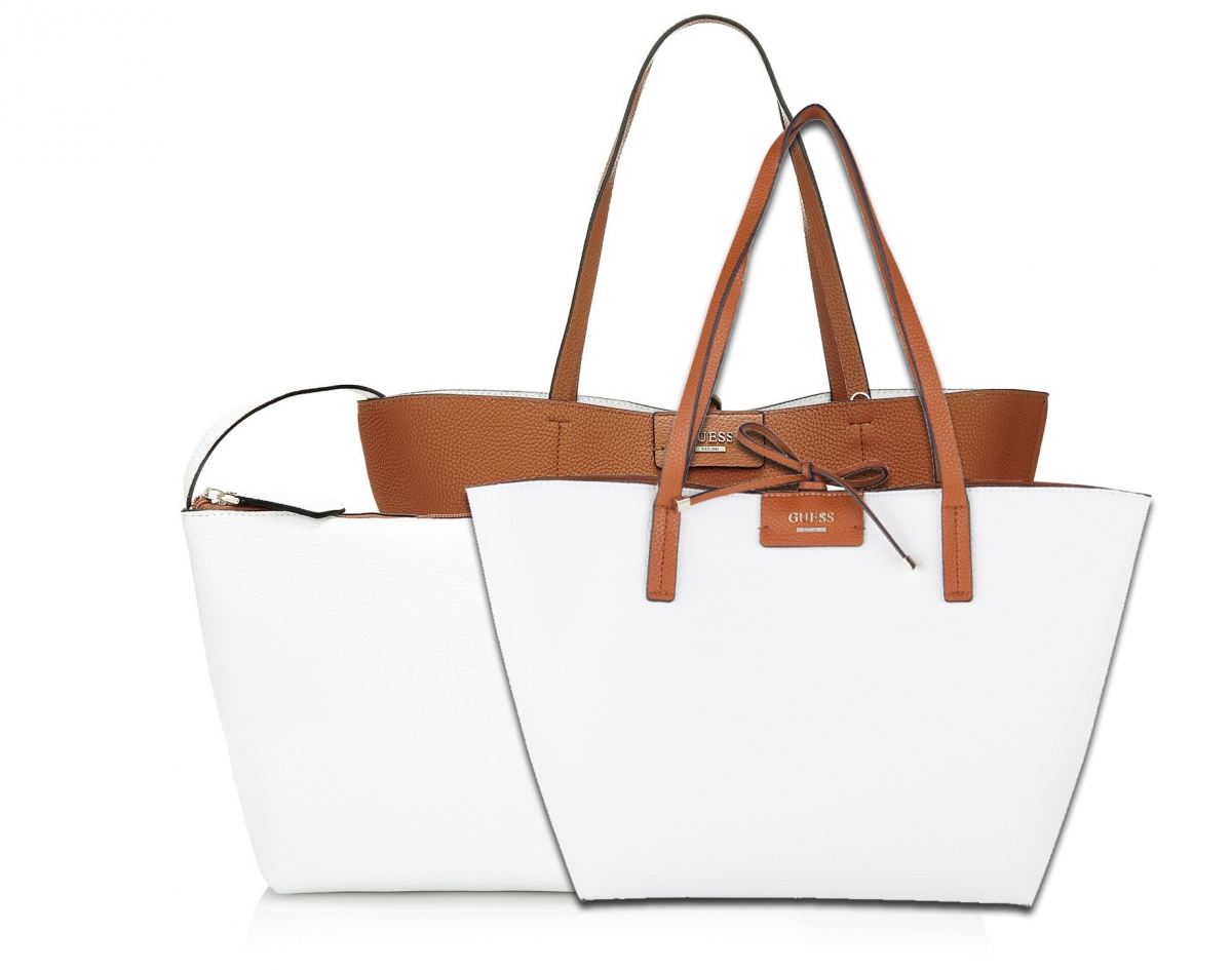 Guess Bobbi Reversible Bag 3v1, bílo-hnědá