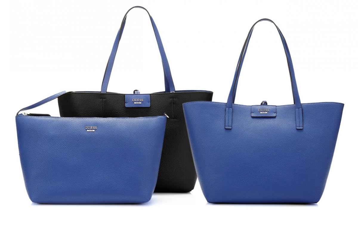 Guess Bobbi Reversible Bag 3v1, kobaltově-černá