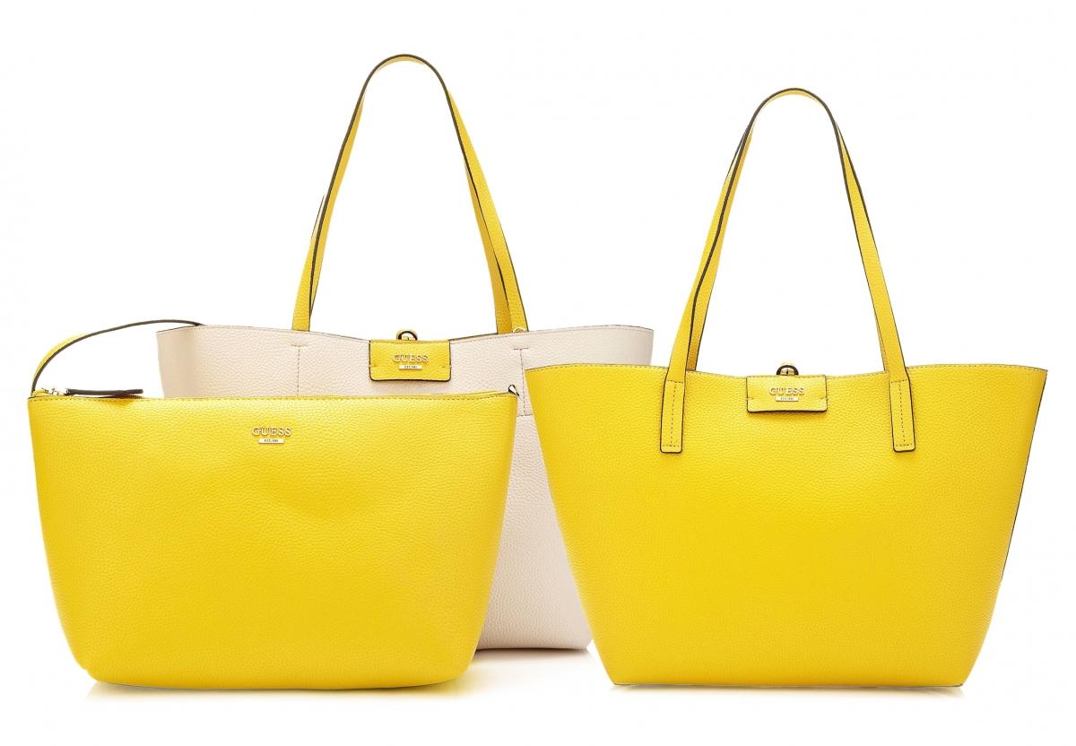 Guess Bobbi Reversible Bag 3v1, žluto-růžová