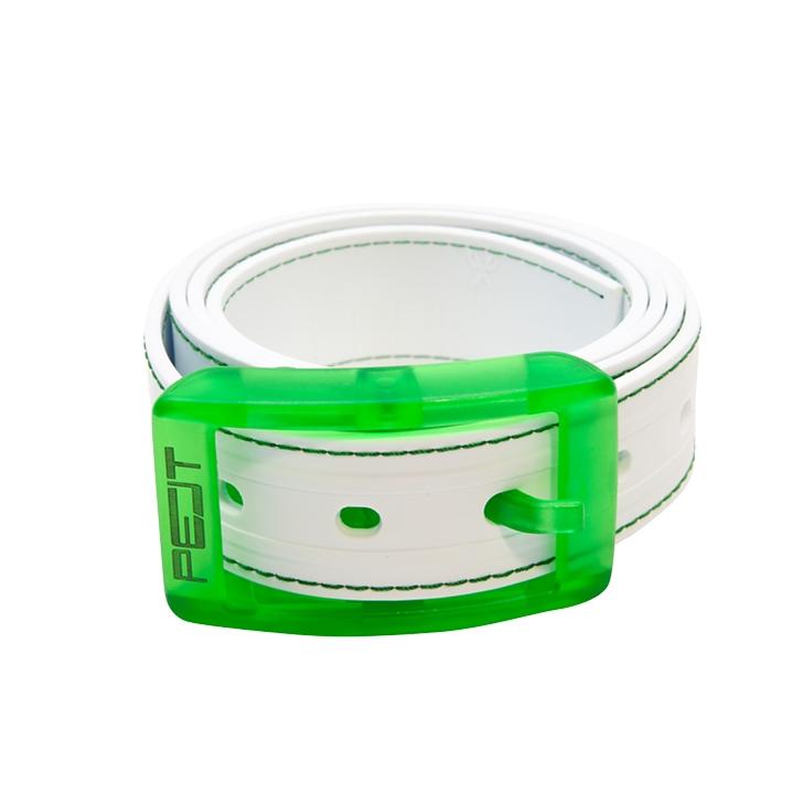 Pelt Stitch opasek s prošitím, bílo-zelený