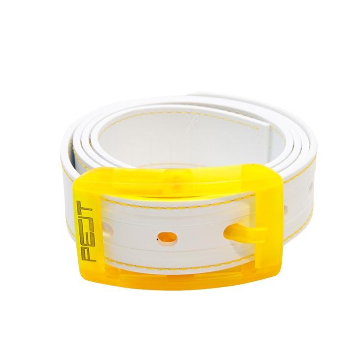 Pelt Stitch opasek s prošitím, bílo-žlutý