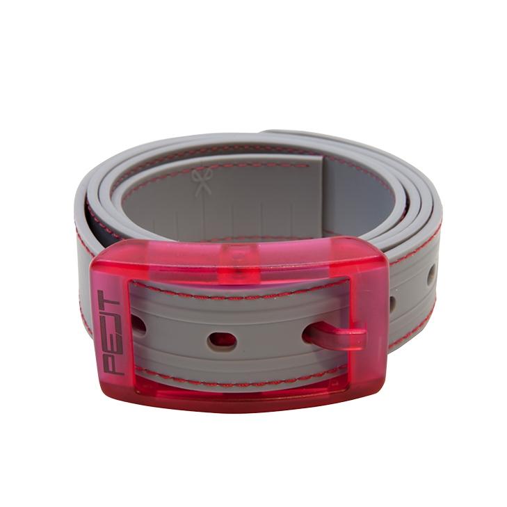 Pelt Stitch opasek s prošitím, šedo-růžový