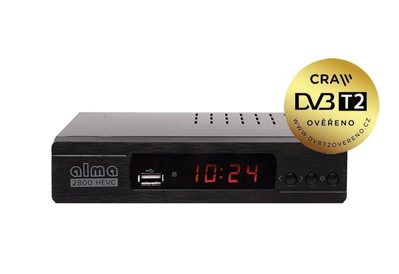 HD přijímač DVB-T2 ALMA 2800 H.265 HEVC - certifikát DVB-T2 ověřeno