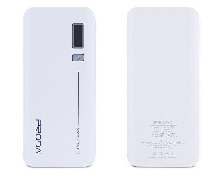 Remax Jane V10i PowerBank, 20000mAh, 2x USB - bílá