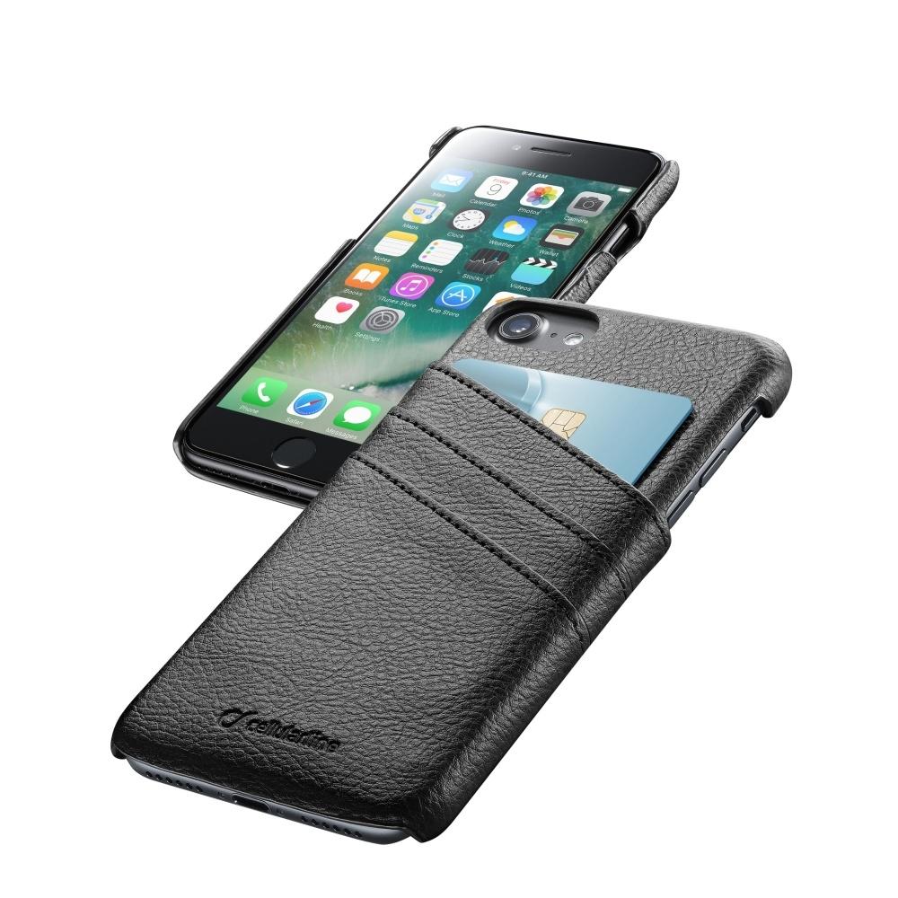 Zadní kryt se 3 sloty pro kreditní karty CellularLine Smart Pocket pro Apple iPhone 7/8, černý SMARTPOCKETIPH747K