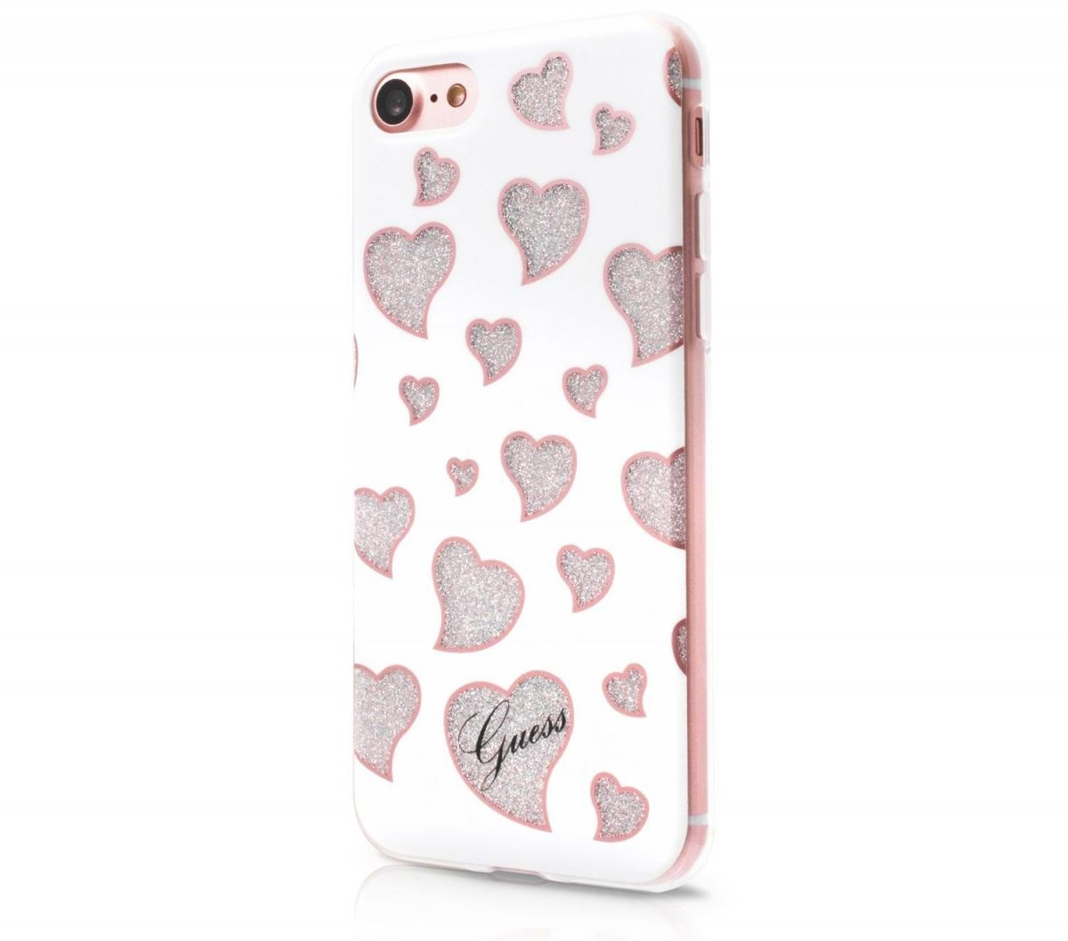 Zadní kryt Guess Hearts pro Apple iPhone 7 - bílý GUHCP7GLHWH
