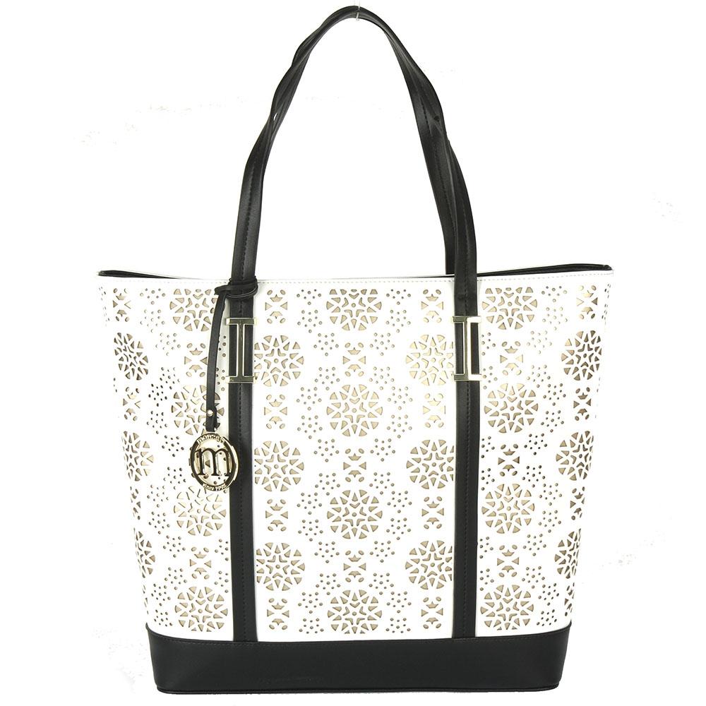 Dámská shopper kabelka Monnari 0570, bílo-černá