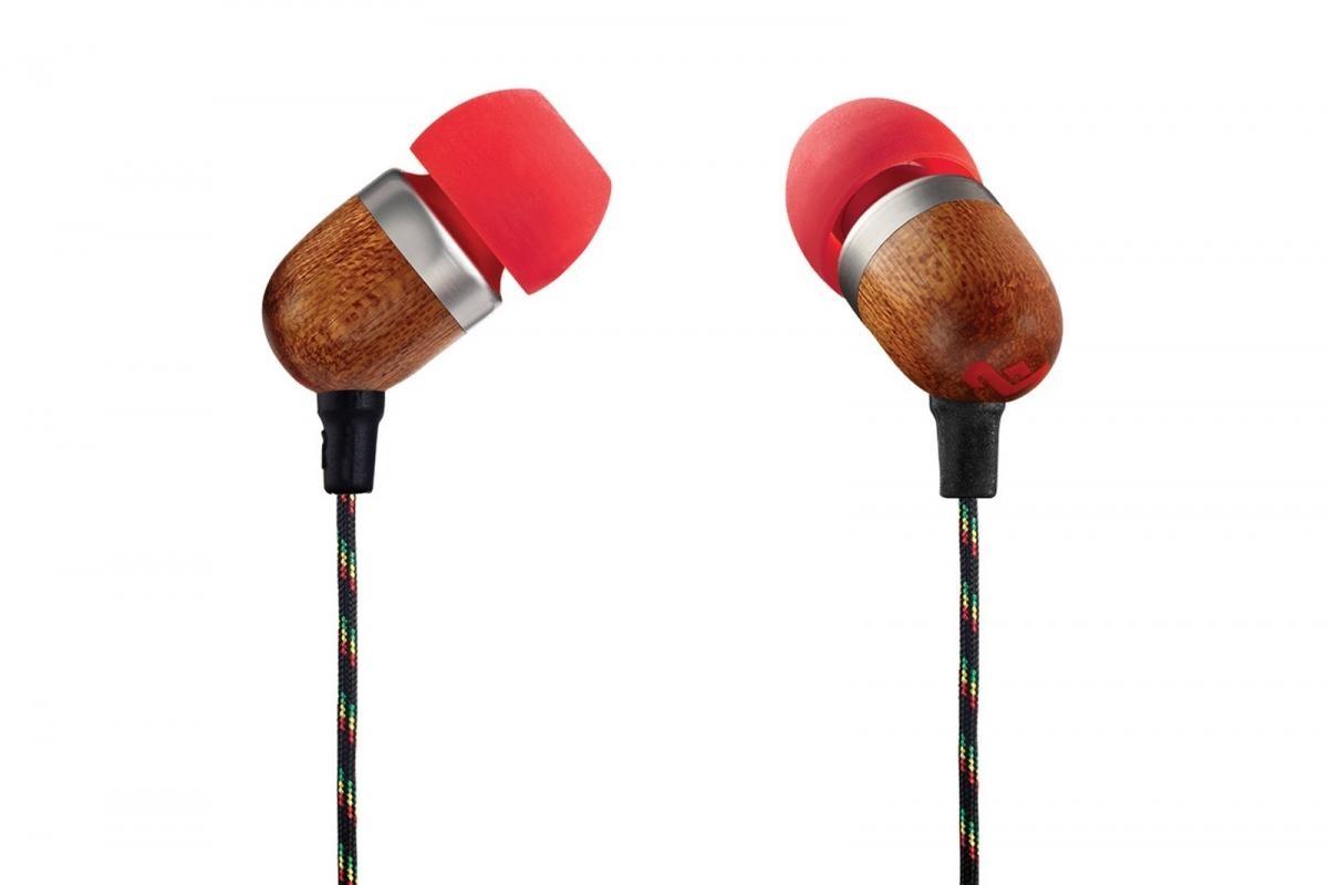 Sluchátka do uší s ovladačem a mikrofonem MARLEY Smile Jamaica Fire - červená EM-JE041-FI