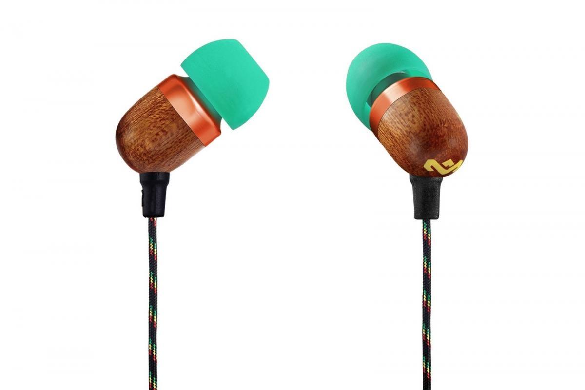 Sluchátka do uší s ovladačem a mikrofonem MARLEY Smile Jamaica Rasta - zelená EM-JE041-RA