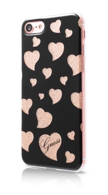 Zadní kryt Guess Hearts pro Apple iPhone 7 - černý GUHCP7GLHBK