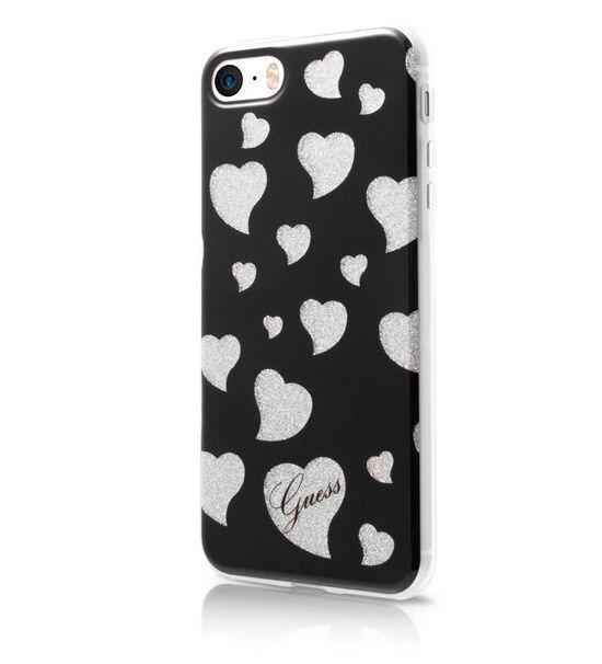 Zadní kryt Guess Hearts GUHCPSEGLHBK pro Apple iPhone 5/5S/SE - černý GUHCPSEGLHBK