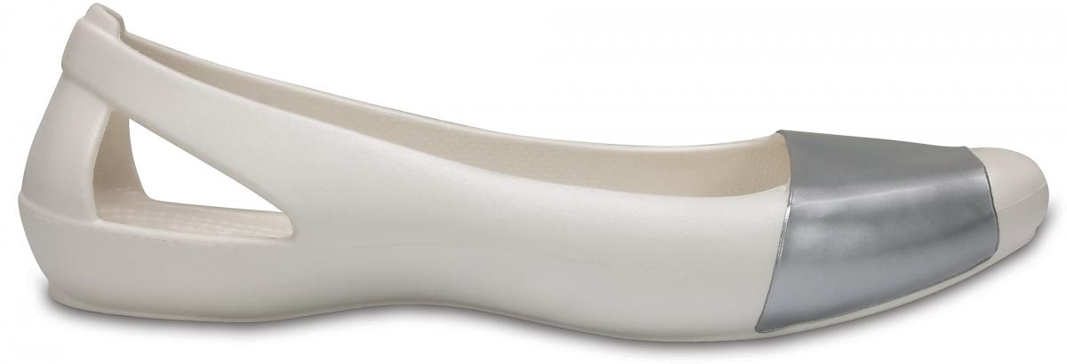 Crocs Sienna Shiny Flat - Oyster/Silver, W9 (39-40)