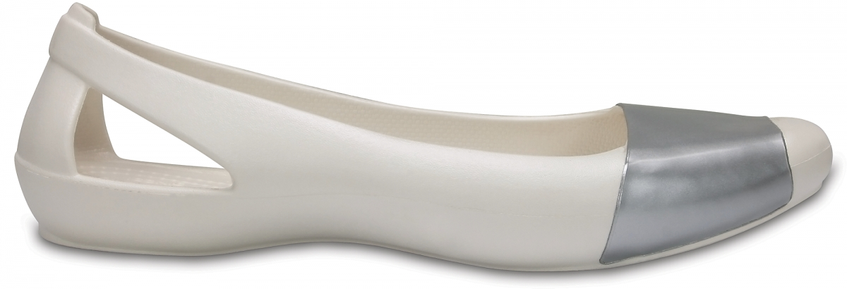 Crocs Sienna Shiny Flat - Oyster/Silver, W11 (42-43)