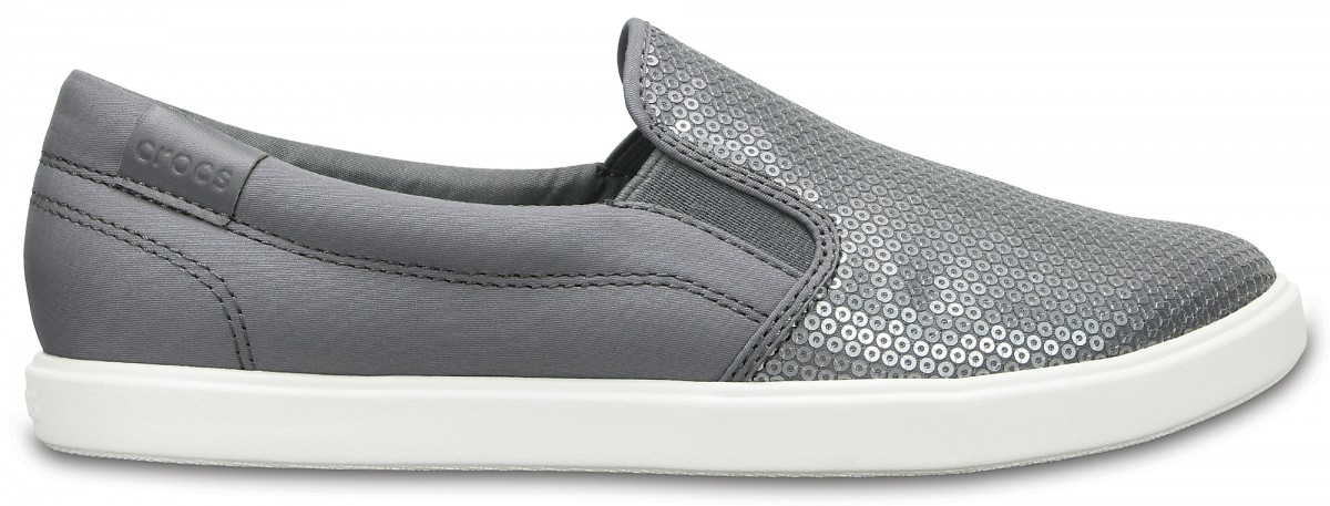 Crocs CitiLane Sequin Slip-on - Silver, W7 (37-38)