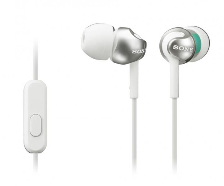 SONY sluchátka s mikrofonem MDR-EX110AP - bílá MDREX110APW.CE7