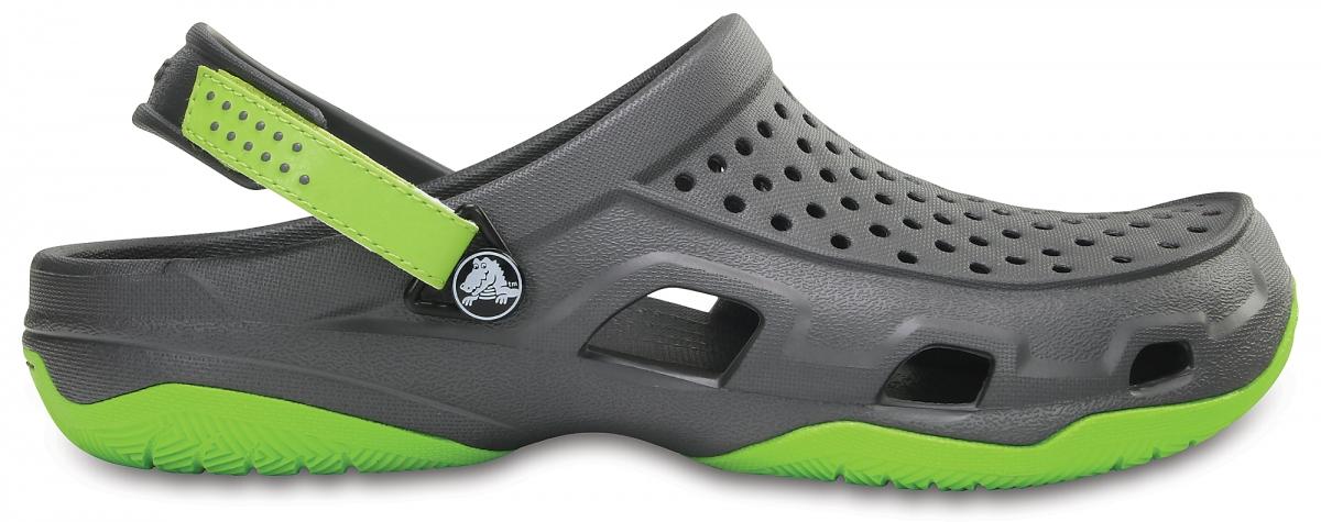 Crocs Swiftwater Deck Clog - Graphite/Volt Green, M10 (43-44)