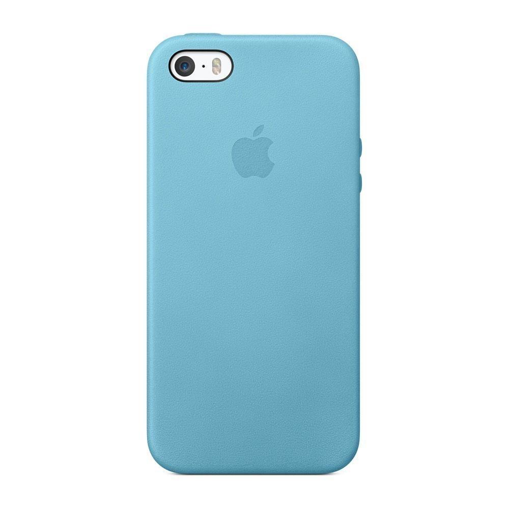 Originální kožený kryt na mobil Apple iPhone SE/5/5S - modrý MF044FE/A