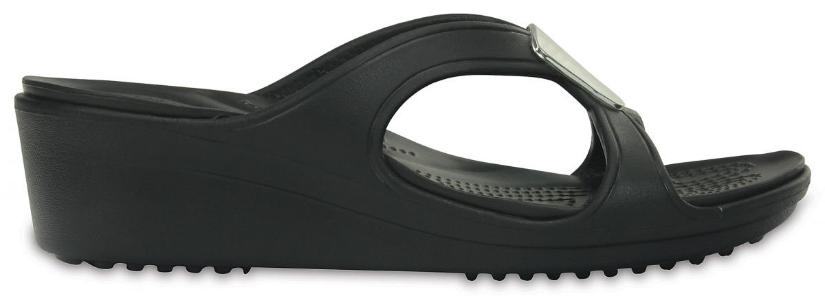 Crocs Sanrah Embellished Wedge - Black/Silver Metallic, W8 (38-39)