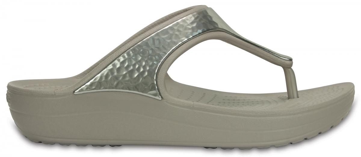 Crocs Sloane Embellished Flip - Platinum, W8 (38-39)