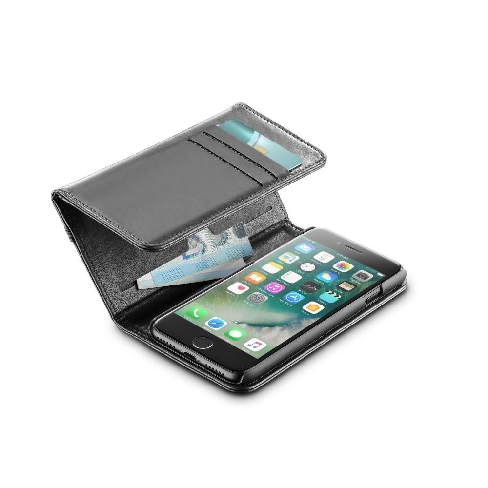 Pouzdro na mobil a peněženka 2v1 CellularLine Wallet pro iPhone 7/8, černé WALLETCIPH747K