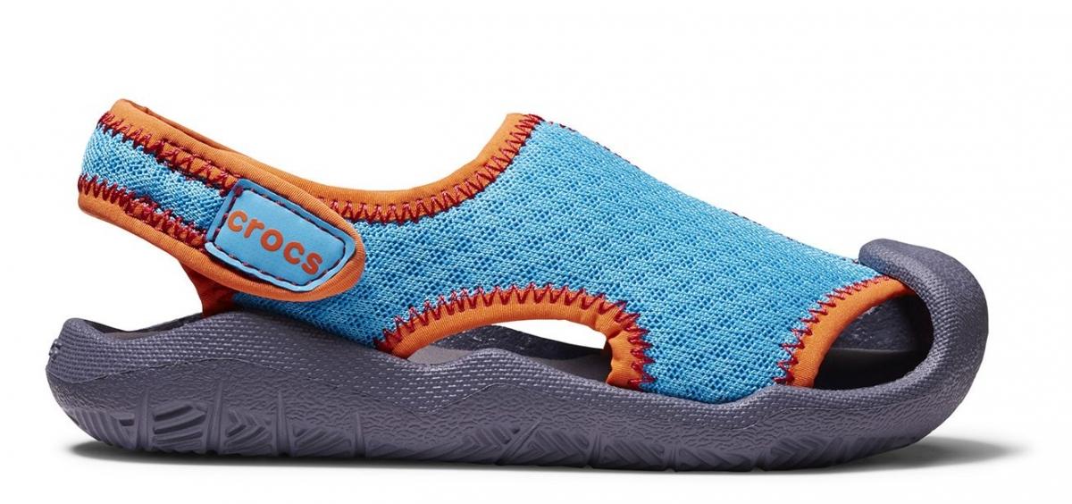 Crocs Swiftwater Sandals Kids - Cerulean Blue/Smoke, J1 (32-33)